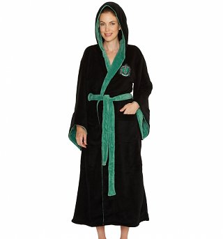 Women's Black Harry Potter Slytherin Crest Hooded Dressing Gown