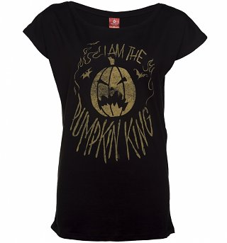 Women's Black Nightmare Before Christmas Pumpkin Slouchy T-Shirt