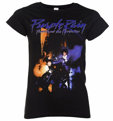 Women's Black Prince Purple Rain Fitted T-Shirt