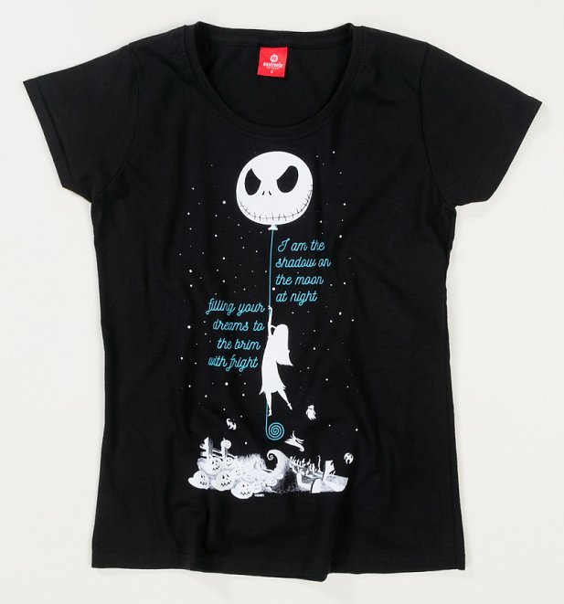 Women's Black Shadow On The Moon Nightmare Before Christmas T-Shirt
