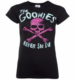 Women's Black The Goonies Never Say Die T-Shirt