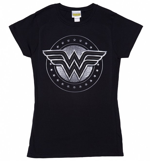 Women's Black Wonder Woman Movie Logo T-Shirt