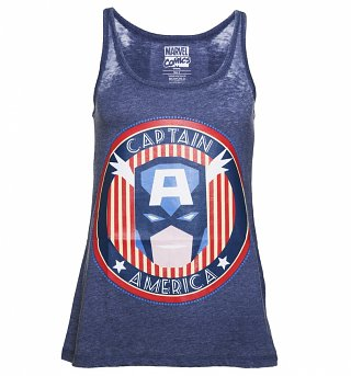 Women's Blue Burnout Marvel Comics Captain-America Vest