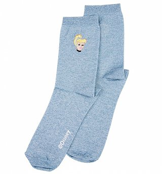 Women's Blue Disney Princess Cinderella Glitter Socks from Local Heroes