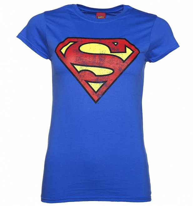 Women's Blue Distressed Superman Logo T-Shirt
