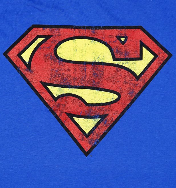 Blue Distressed Superman Logo TShirt