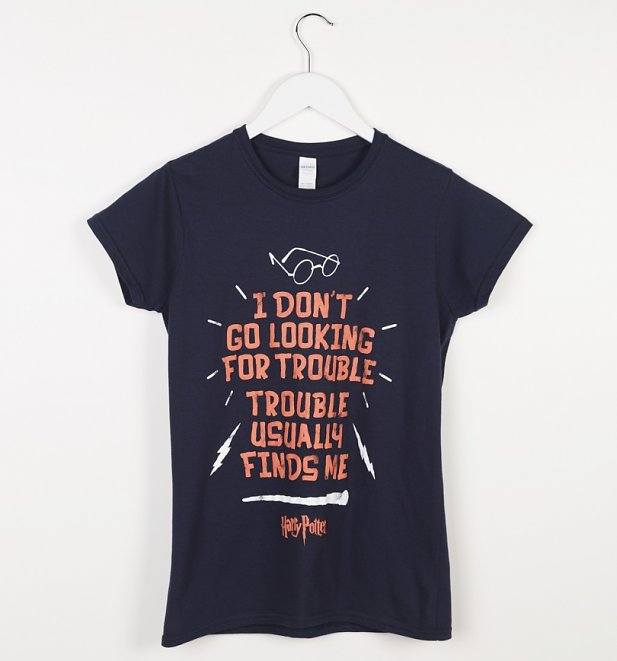 Women's Blue Harry Potter Looking For Trouble T-Shirt