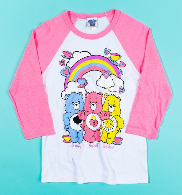 Care Bears Hearts and Tea Cups Baseball T-Shirt