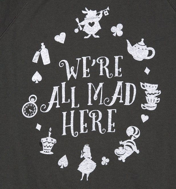Women's Charcoal Disney Alice In Wonderland We're All Mad Here Sweater