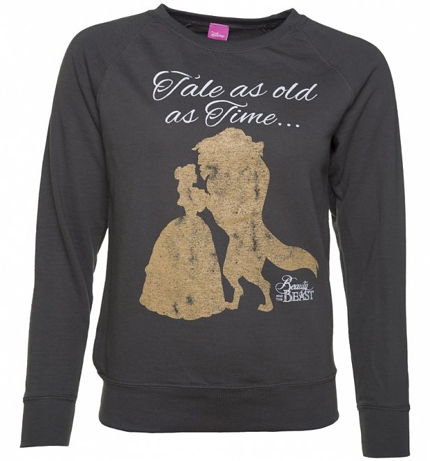 Women's Charcoal Disney Beauty And The Beast Tale As Old As Time Sweater