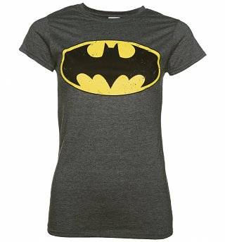Women's Charcoal Distressed Batman Logo T-Shirt