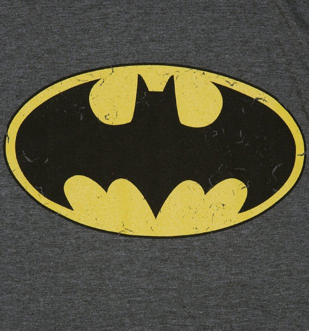 Women's Charcoal Marl Distressed Batman Logo T-Shirt