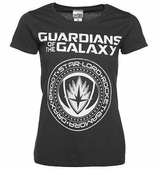 Women's Charcoal Guardians of The Galaxy Crest Logo T-Shirt