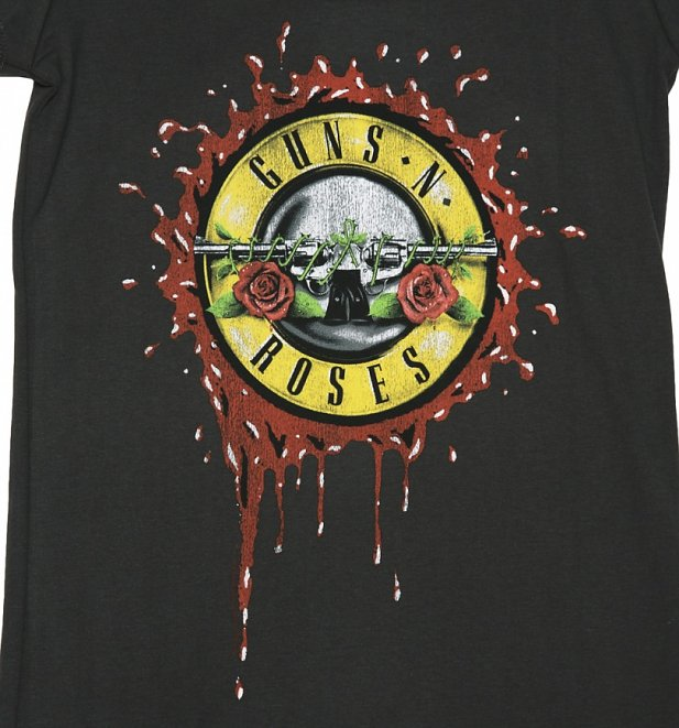 Women's Charcoal Guns N' Roses Bloody Bullet T-Shirt from Amplified