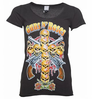 Women's Charcoal Guns N' Roses Neon Skull Cross T-Shirt from Amplified