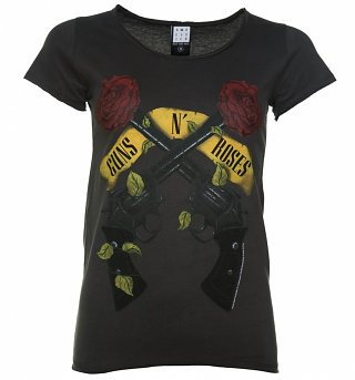 Women's Charcoal Guns N' Roses Shooting Roses T-Shirt from Amplified