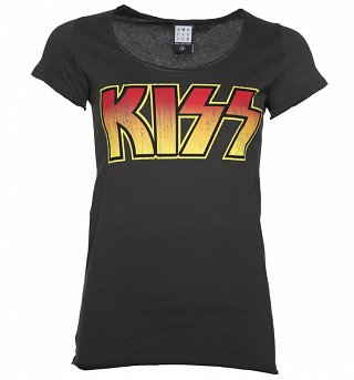 Women's Charcoal KISS Logo T-Shirt from Amplified
