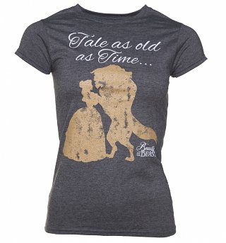 Women's Charcoal Marl Disney Beauty And The Beast Tale As Old As Time T-Shirt