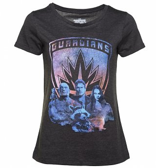 Women's Charcoal Marl Guardians Of The Galaxy Volume 2 Scoop Neck T-Shirt