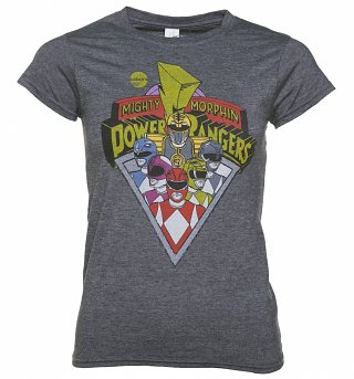 Women's Charcoal Marl Retro Power Rangers T-Shirt