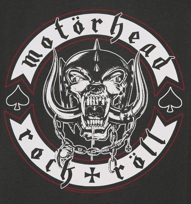 Women's Charcoal Motorhead Biker Badge T-Shirt from Amplified