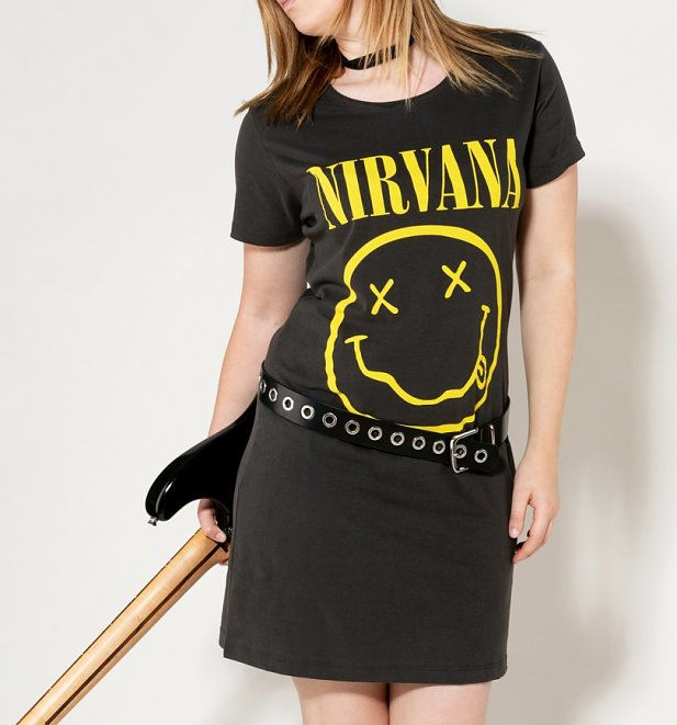 Women's Charcoal Nirvana Smiley T-Shirt Dress from Amplified
