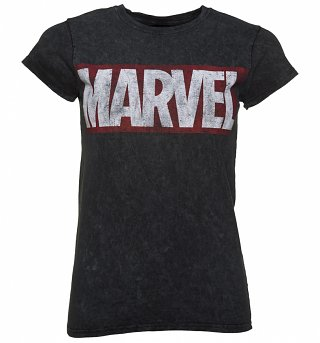 Women's Charcoal Snow Wash Distressed Marvel Logo T-Shirt
