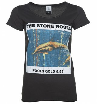 Women's Charcoal The Stone Roses Fools Gold T-Shirt from Amplified