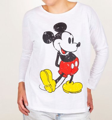 Women's Classic Mickey Drop Shoulder Long Sleeve T-Shirt