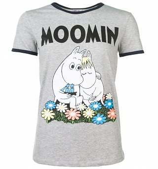Women's Classic Moomins Grey And Navy Ringer T-Shirt