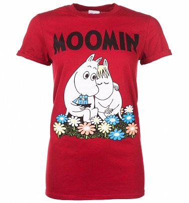 Women's Classic Moomins Red Marl Boyfriend Fit T-Shirt With Rolled Sleeves