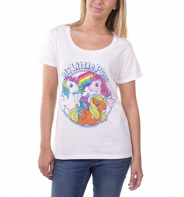 Women's Classic My Little Pony White Scoop Neck T-Shirt