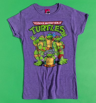 Women's Classic Teenage Mutant Ninja Turtles Purple Marl Fitted T-Shirt