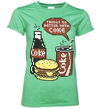 Women's Coca-Cola Pixels Heather Green Boyfriend Fit T-Shirt With Rolled Sleeves