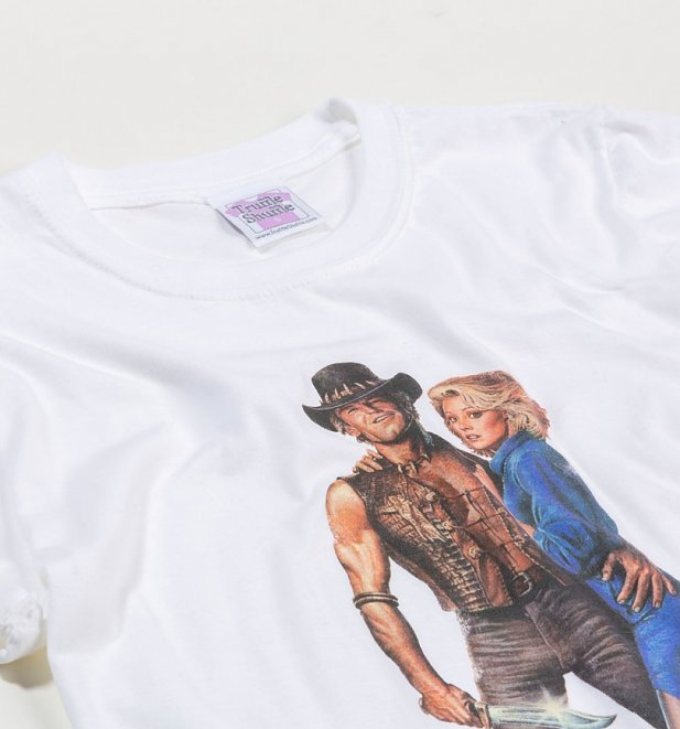Women's Crocodile Dundee II Movie Poster White Boyfriend Fit Rolled Sleeve T-Shirt