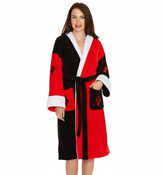 Women's DC Comics Black And Red Harley Quinn Hooded Costume Dressing Gown