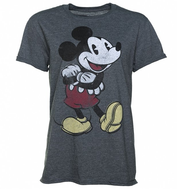 Women's Dark Heather Vintage Mickey Mouse Rolled Sleeve T-Shirt