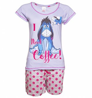 Women's Disney Eeyore I Need Coffee Shortie Pyjamas