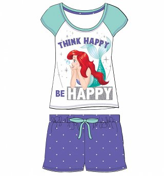 Women's Disney Little Mermaid Think Happy Be Happy Shortie Pyjamas