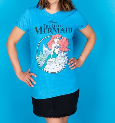 Women's Disney The Little Mermaid Heather Sapphire Boyfriend Fit Rolled Sleeve T-Shirt