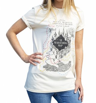Women's Ecru Harry Potter Marauders Map UV Colour Change Rolled Sleeve Boyfriend T-Shirt