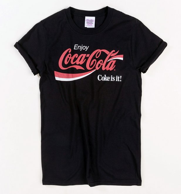 Women's Enjoy Coca-Cola Retro Stripe Black Boyfriend Fit Rolled Sleeve T-Shirt