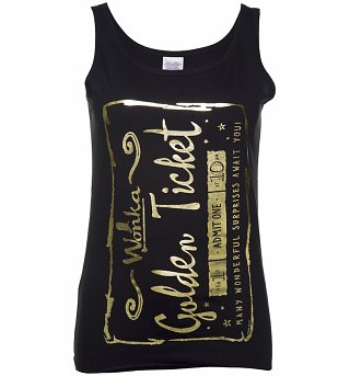 Women's Foil Print Golden Ticket Roald Dahl Vest