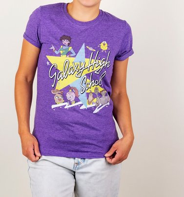 Women's Galaxy High School Heather Purple Boyfriend Fit Rolled Sleeve T-Shirt