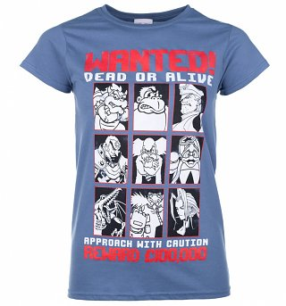 Women's Gaming Villains Wanted Poster Indigo Blue T-Shirt