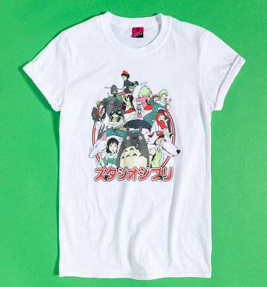 Women's Ghibli Japanese Logo White Boyfriend Fit Rolled Sleeve T-Shirt