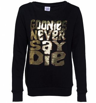 Women's Gold Foil Print Goonies Never Say Die Jumper