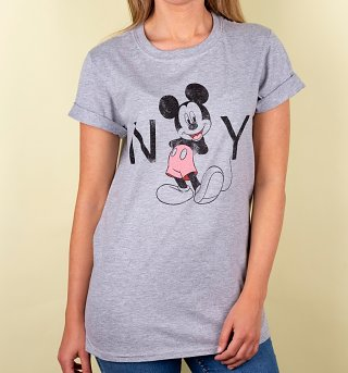 Women's Grey Disney Mickey Mouse New York Rolled Sleeve Boyfriend T-Shirt