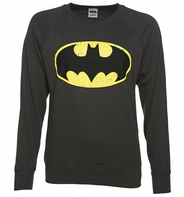 Women's Charcoal Distressed Batman Logo Sweater