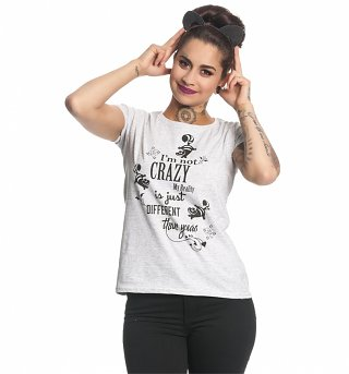 Women's Grey Marl Alice In Wonderland not Crazy Disney T-Shirt